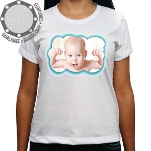 Camiseta Com Sua Foto Moldura Nuvem Azul