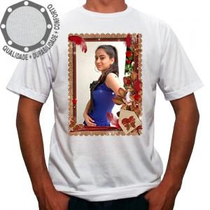 Camiseta Com Sua Foto Moldura Envelope Penas