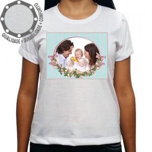 Camiseta Com Sua Foto Moldura Meu Batizado Flores