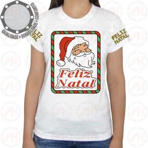 Camiseta Natalina Feliz Natal Quadro Papai Noel