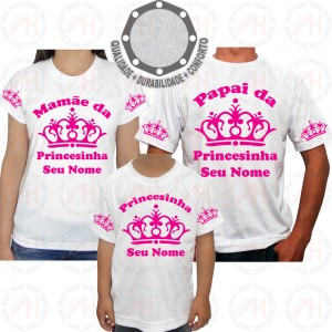 Kit 3 Camisetas Coroa Rosa Princesa