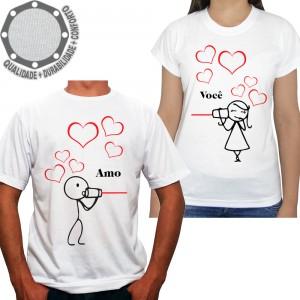 Kit 2 Camisetas Namorados Amo Você
