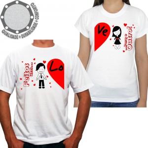 Kit 2 Camisetas Namorados Feitos Um Para o Outro