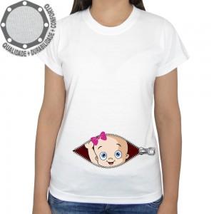 Camiseta Bebê na Barriga Ziper Lacinho