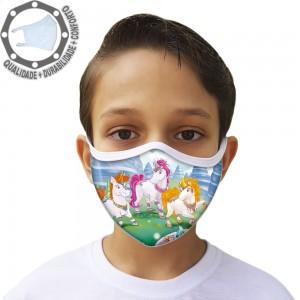 Máscara de Proteção Unicórnio Tecido Lavável