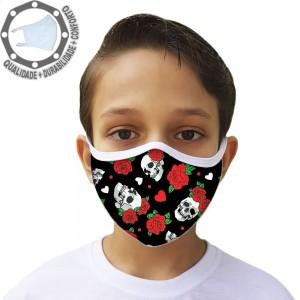 Máscara de Proteção Caveiras e Rosas Tecido Lavável