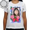 Camiseta Com Sua Foto Moldura Laço Vermelho Rosas