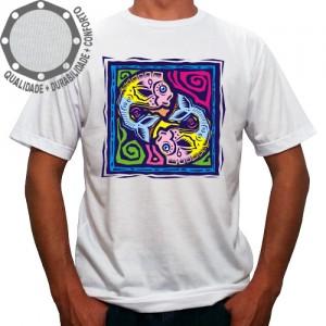 Camiseta Signo Peixes Colorido