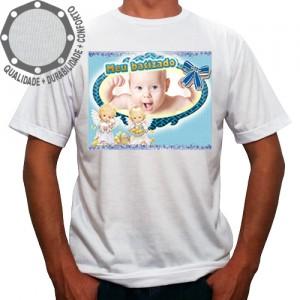 Camiseta Com Sua Foto Moldura Meu Batizado Anjinhos