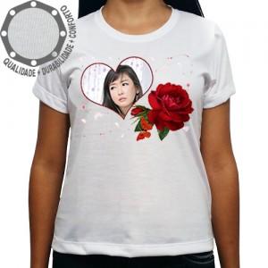 Camiseta Com Sua Foto Moldura Dia dos Namorados Coração Rosa