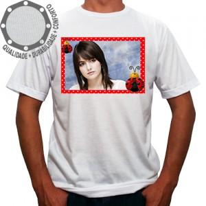 Camiseta Com Sua Foto Moldura Vermelho Joaninha