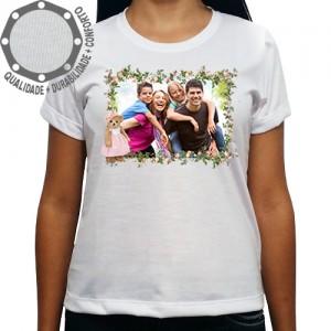 Camiseta Com Sua Foto Moldura Flores Ursinha