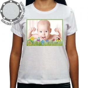 Camiseta Com Sua Foto Moldura Flores Bichos