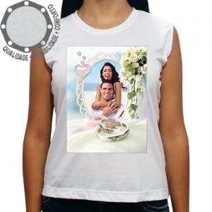 Camiseta Com Sua Foto Moldura Dia dos Namorados Bouquet Alianças