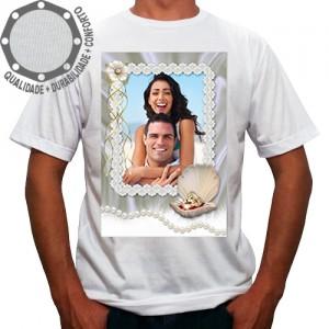 Camiseta Com Sua Foto Moldura Dia dos Namorados Pérolas Alianças
