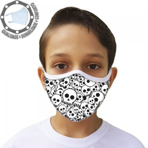 Máscara de Proteção Caveiras Tecido Lavável