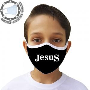 Máscara de Proteção Jesus Black Tecido Lavável
