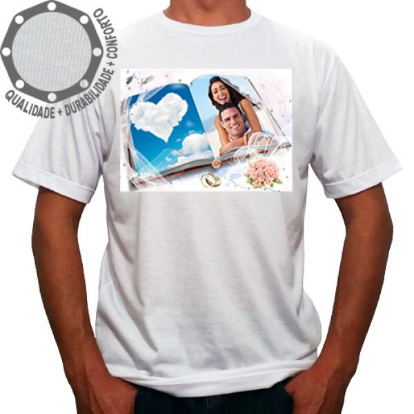Camiseta Com Sua Foto Moldura Dia dos Namorados Coração Nuvem