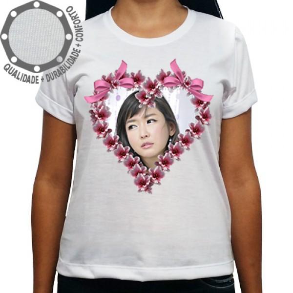 Camiseta Com Sua Foto Moldura Dia das Mães Coração Laços 737a12fa83723