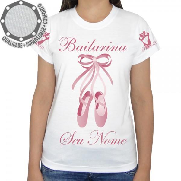 94a2712bfd5d2 Camiseta Bailarina Sapatilhas Rosa